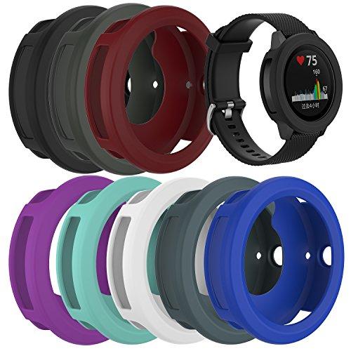 RunTech Compatible for Garmin Vivoactive 3 Watch Protective Case, Soft Silicone Case Cover Protector Sleeve for Vivoactive 3 Band Cover (8-Pack)