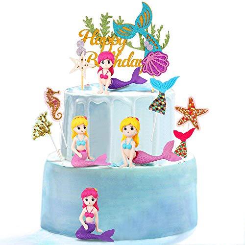 35 Stücke Meerjungfrau Tortendeko, Mini Meerjungfrau Figuren Miniaturen, Sea Party Glitzer Cake Topper, Mermaid Unterwasserwelt Deko für Mädchen Kindergeburtstag