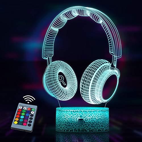 Kopfhörer Geschenk Nachtlicht Lampe, 3D LED Licht Nachtlicht Optische Täuschung Lampe, 16 Farben ändern mit Fernbedienung und Touch Control, Geburtstags und Weihnachtsgeschenke für Kinder