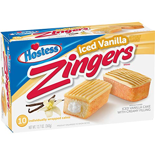 Hostess Iced Vanilla Zingers, 10 Count, 12.7 Ounce (Pack of 1)