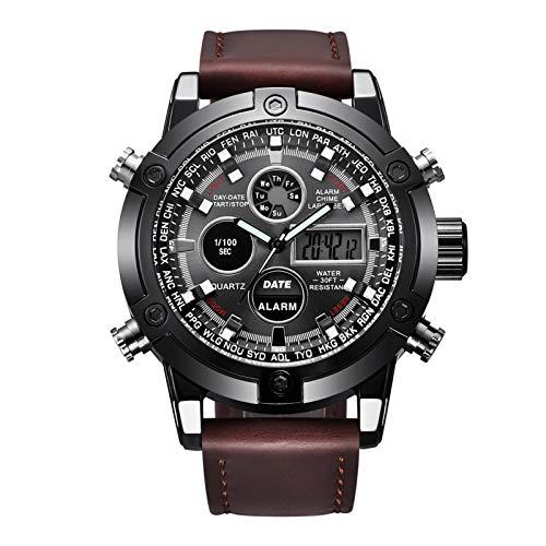 Reloj Cronógrafo De Negocios para Hombres, Relojes De Pulsera Digitales De Cuero Impermeables para Hombres Unisex con Caja De Regalo