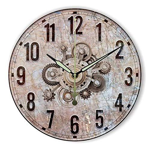 FOOSKOO Wall Clocks Horloge Murale Style rétro Vintage Vintage muet Grande Horloge Murale Montre Shabby Chic Home Decor Salon 16 Pouces / 40 cm (Conception : D)