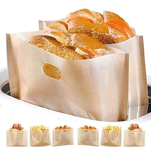 Non Stick Toaster Bags Reusable and Heat Resistant Easy to Clean,Perfect for Sandwiches Pastries Pizza Slices Chicken Nuggets Fish Vegetables Panini & Garlic Toast (4)