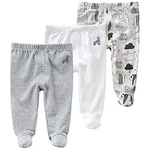 3er Pack Baby Strampelhose Babyhose mit Fuß Leggings für Baby-Jungen Baumwolle Hosen, 3-6 Monate