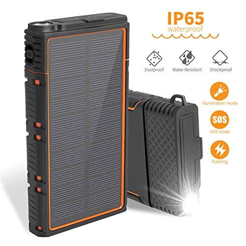 AIKES oplader op zonne-energie, 10000 mAh, outdoor powerbank, USB-ingang, snelopladen via zaklamp, geschikt voor iPhone XS/XS MAX/XR Galaxy S9/S8 enz.