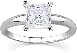 AGS Certified 1 Carat Princess Diamond Solitaire Ring in 14K White Gold (J-K Color, I2-I3 Clarity)