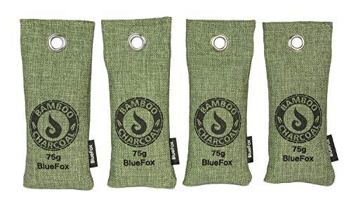 BlueFox I 4er Set 75g Bambus Aktivkohle Lufterfrischer für Schuhe I Filter Luftreiniger Beutel I Schweißgeruch entferner aus Sportschuhe I nachhaltiger Entfeuchter Geruchsentferner grün