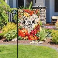 Bandiera del giardino di benvenuto(28x40inch)Decorazione per esterni da giardino verticale bifacciale,sii grato sempre autunno raccolto autunnale #4
