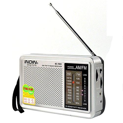 Mini Radio Radio de Bolsillo portátil FM 76-108 Am 530-1600 KHz Receptor Mundial Altavoz Integrado Antena telescópica con Pilas