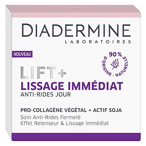 Diadermine - Lift+ Lissage Immédiat - Crème de Jour Visage Anti-Rides Ultra Tenseur - Soin Fermeté - Pro-Collagène végétal et actif soja - 90% d'ingrédients d'origine naturelle - Pot de 50 ml