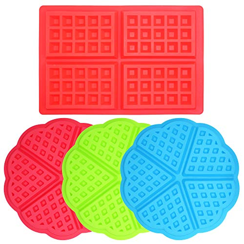 4 Pcs Waffle Mold,Sonku Silicone Heart-Shaped Square-Shaped Waffle Baking Molds Muffin Pans Chocolate Bread Pie Flan Bakeware