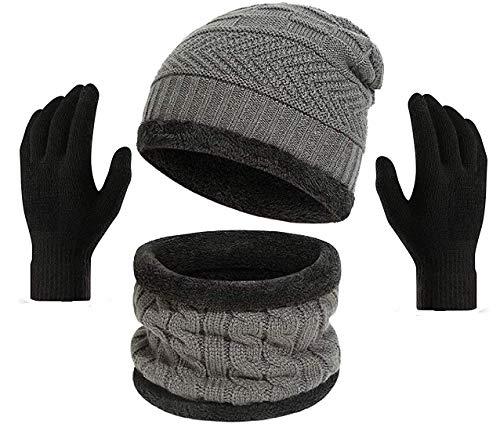 Gajraj Winter Knit Beanie Cap Hat Neck Warmer Scarf and Woolen Gloves Set for Men & Women (3 Piece) (Grey)