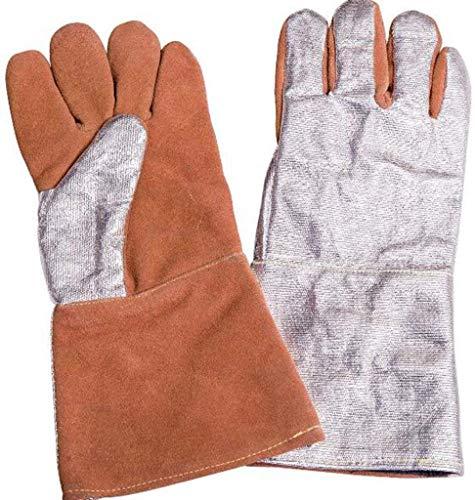 ZFZ Hochtemperaturbeständige Handschuhe tragen Resistant 500 Grad isolierte Handschuhe Aluminium Foil Isolierhandschuhe 1000 Grad Strahlungswärme Handschuhe