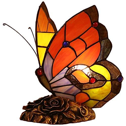 Bieye L30038 9 pulgada Mariposa Lámpara de mesa de acento del vitral del estilo de Tiffany