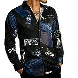 LOGEEYAR Men's Casual Button Down Shirts Printing Long Sleeve Regular-Fit Shirts Black