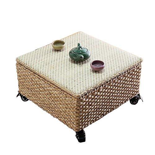 coffee table. Small round table. Small square tabl -Tables Quadratischer Rattan-Gewebtisch, Multifunktionsspeicher, orientalische Möbel, hohe Fuß / Riemenscheibe, Rattan-Aufbewahrungsbox - natürlicher