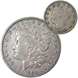 1880 Morgan Dollar VF Very Fine 90% Silver Coin with 1906 Liberty Nickel G Good