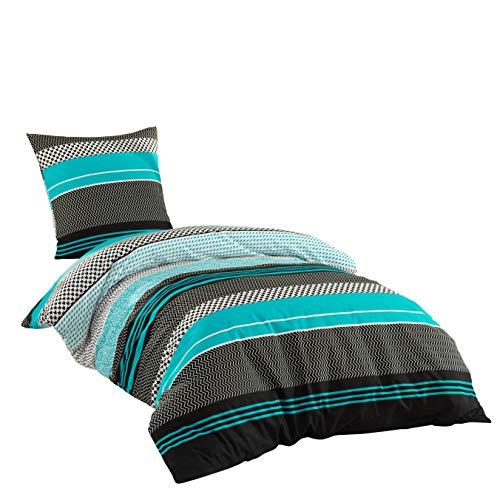 Sentidos Bettwäsche-Set 2-teilig Renforcé Baumwolle 140x 200 cm mit Reißverschluss Bett-Bezug, 80x80 cm Kissen-Bezug Bett-Garnitur türkis schwarz weiß (140x200 cm + 80x80 cm)