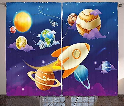 Waple Blackout curtains eyelet for living room Outer space curtains, solar system with spaceships, Milky Way planets, Jupiter Earth 220*215cm 3D Blackout Curtains Ring Top Curtains Super soft Thermal