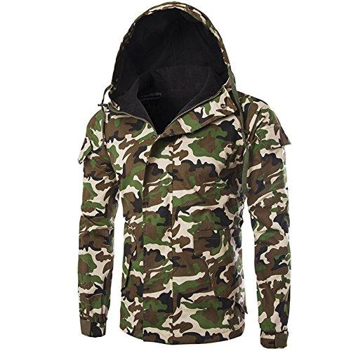 WSLCN Homme Jacket Camouflage Hoodie Veste à Capuche Rétro Casual Manches Longues Militaire Manteau Printemps Automne Camo Vert Small