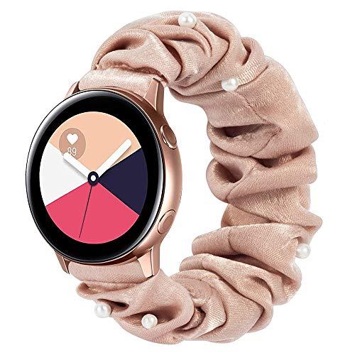 Ownaco Kompatibel mit Samsung Galaxy Watch3 41mm Armband Scrunchies Perle Beige Stoff Weiches Muster Bedrucktes Gewebe Ersatzarmbander Frauen Elastische Scrunchy Bander fur Active2 40mm 44mmKlein