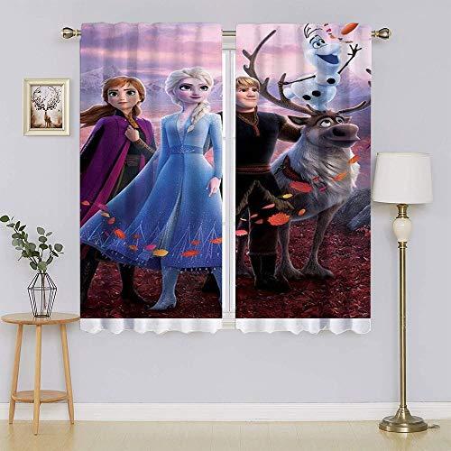 Frozen 2 cortinas opacas con bolsillo para barra de Elsa, microfibra que reducen el ruido, aislamiento térmico, mantienen calientes cortinas para sala de estar, dormitorio de 63 x 45 pulgadas