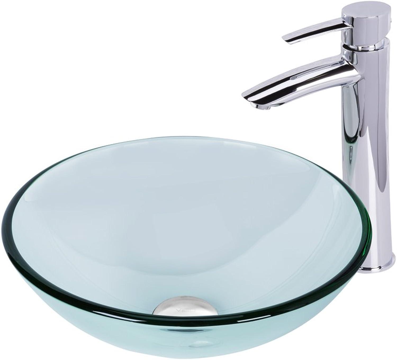 VIGO VGT892 Sheer Sepia Glass Vessel Sink and Shadow Faucet Set, Chrome Finish