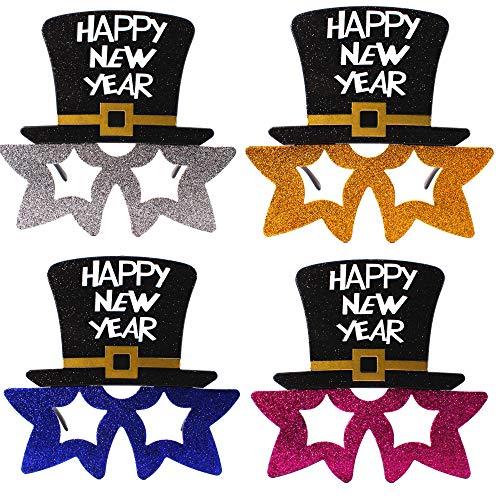 Carnavalife Gafas Happy New Year Sombrero con Purpurina Disfraces Fiesta para 2021 Decoraciones de Fiesta de Nochevieja Accesorios de Fotografía Pack de 12 Piezas (3*4 Colores)