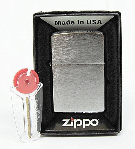 Zippo Mechero Cromado con Efecto Cepillado, Incluye 6 Piedras de Repuesto