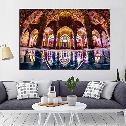 KWzEQ La Meca Arquitectura Islámica Imagen Arte Impresiones y Carteles Mezquita Paisaje Pintura sobre lienzo80X120cmPintura sin Marco