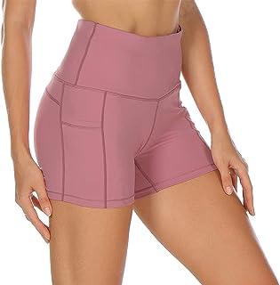 icyzone Pantalón Corto Cintura Alta Transpirable con Bolsillos Mallas Corto para Mujer para Yoga Correr Gimnasio Ejercicio
