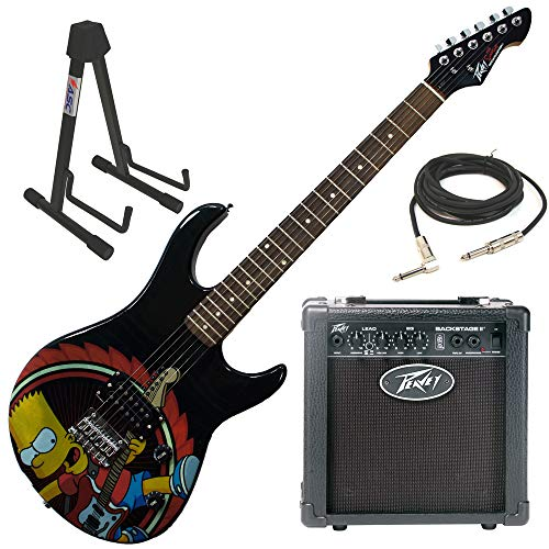 PeaveyThe Simpsons Rocking Bart Simpson Rockmaster Electric Guitar Beginner Package with Peavey Backstage Transtube Guitar Amp, adjustable guitar stand, 15 foot guitar cable