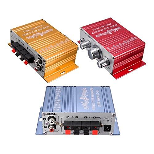 Amplificador estereo - SODIAL(R)RCA 2CH Hi-Fi Estereo Amplificador Booster DVD MP3 Altavoz Para Coche Moto Mini