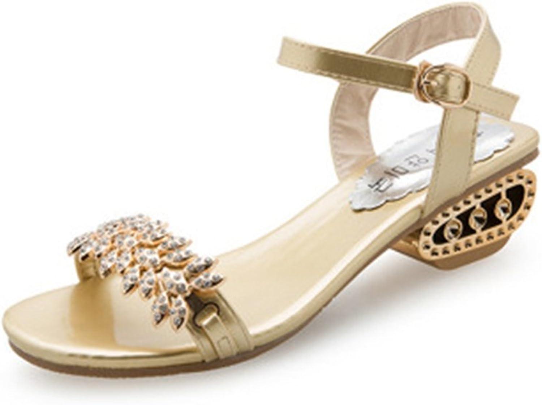 GIY Women's Rhinestone Slingback Wedges Platform Sandals Open Toe Anti-Slip Block Heel Sparkly Dress shoes