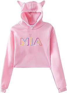Womens Bad Bunny Mia Casual Crop Top Cat Ear Sweater