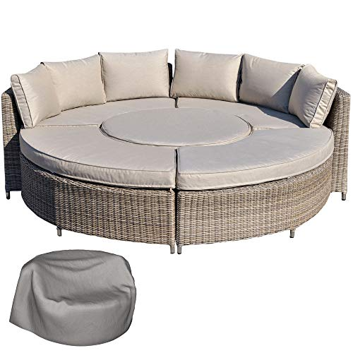 Outsunny 5 Pieces Outdoor PE Rattan Patio Furniture Set Lounge Chair Round Daybed Liftable Coffee Table Conversation Set with Olefin Cushion