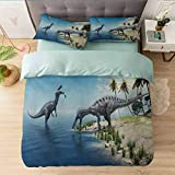 Duvet Cover Set 3 Pieces, Large Fish is Caught by a Suchomimus Dinosaur Flying Pterosau, Reversible Duvet Cover Modern Soft Elegant Bedding Sets for Women Men Teens, Blue Beige Green Grey