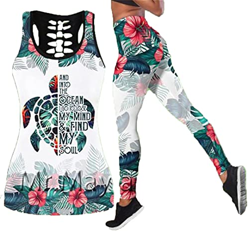 Chaleco Hueco de Flor de Hierba de Tortuga Impresa en 3D Chaleco Sexy para Mujer Chaleco de Moda para niñas Ropa Tanktops n Leggings 4XL