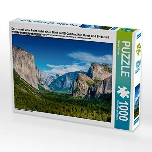 CALVENDO Puzzle Der Tunnel View Point bietet einen Blick auf EL Capitan, Half Dome und Bridalveil Fall im Yosemite National Park 1000 Teile Lege-Größe 64 x 48 cm Foto-Puzzle Bild von Michael Schepp
