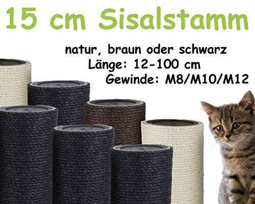 Kratzbaumland 15 cm Sisalstamm, Ersatzstamm für Kratzbaum: Länge: 12 cm/Gewinde: 10 mm (M10), Farbe des Sisalseils: schwarz