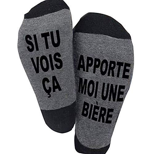 Chaussettes fantasie, SI TU VOIS ÇA, APPORTE MOI UNE BIERE Chaussettes Drôles Chaussettes Courtes Fantaisie Cadeaux Nouveauté pour Les Amateurs de Bière Homme Femme Couple Funny Socks