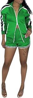 KAIXLIONLY Women's Sweatsuits,Stripe Jogging Zipped Windbreaker Jacket Crop Top and Shorts Pants Sports Tracksuits