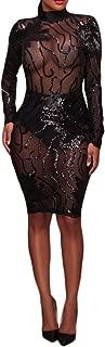 Women's Sexy Sequins Mini Dress Sheer Mesh Rhinestones Bodycon Party Club Night Dresses