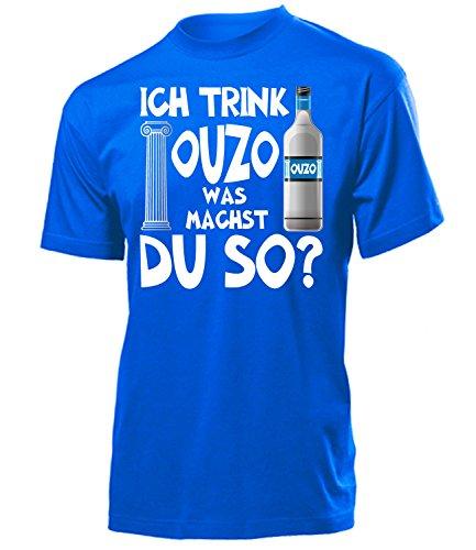 Ich trink Ouzo was machst du so Saufen Sauf Griechenland geschenke Lustig Sprüche Geburtstag geschenke Herren Männer t shirt tshirt t-shirt Grieche-n greece Griechisch kreta geschenkidee Party grieche