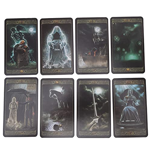 Kudoo Cartas del Tarot - Cartas de Tarot Rider Waite con Libro Guía Tarot de Adivinación del Destino Baraja de Tarot para Principiantes Mejor Regalo para Amigos, Niños, Adultos(Negro)