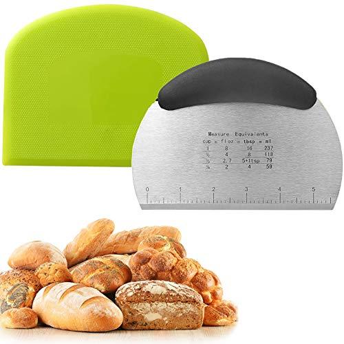 Raschietto per impasto, tagliapizza per pasticceria, con manico e scala di misurazione, in acciaio inox, spatole flessibili in plastica, utensili da cucina per pane, pizza e biscotti