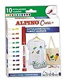Rotuladores para Tela Alpino Crea+ - Rotulador Textil con 10 Colores - Rotulador Permanente para...