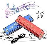 Xinmeng 2 Piezas Armonica, Armonica Infantil, Armonica Niños, Harmonica C 10 Agujeros 20 Tonos, para Niños, Principiantes, Profesionales, estudiantes, con Estuche(Azul, Rojo)