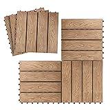 ATR ART TO REAL Interlocking Patio Flooring Tiles in Coffee, Indoor Outdoor Deck and Patio Flooring Wood-Plastic Material Composite Tile