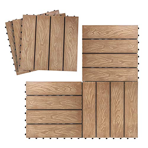Piastrelle per pavimenti ad incastro per patio in teak, per esterni per interni e per pavimenti in materiale composito di legno-plastica